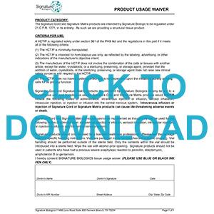 Vitality Biologics Product Usage Waiver